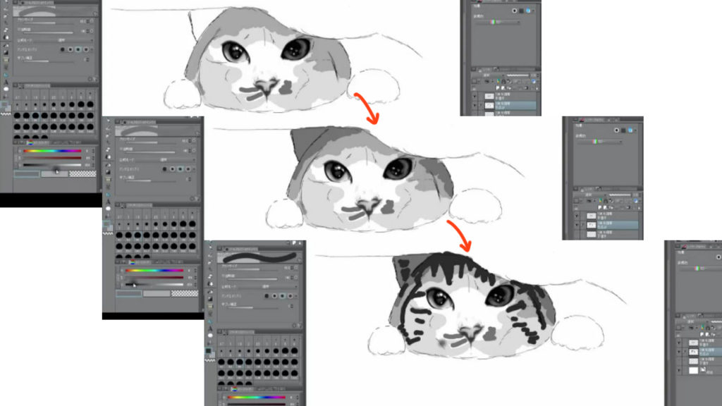 リアルな絵の猫の毛並みの書き方