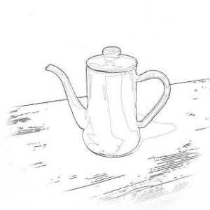 リアルな絵のドリップポッドのぬり絵線画