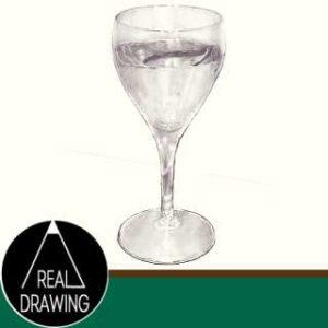 リアルな絵のワイングラスのぬり絵サムネイル-セピア