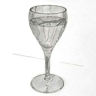 リアルな絵のワイングラスのぬり絵完成