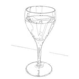 リアルな絵のワイングラスのぬり絵線画