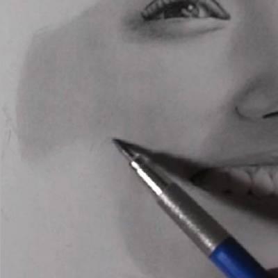鉛筆画のリアルな絵の肌のぼかし方1