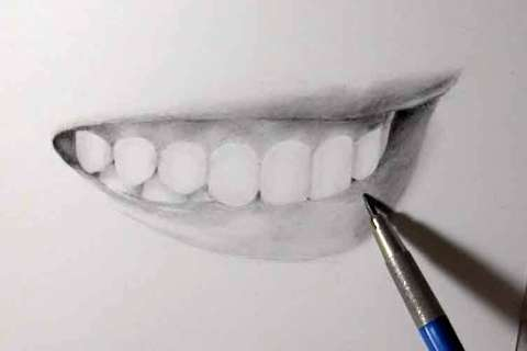 リアルな絵の描き方-歯の描き方33