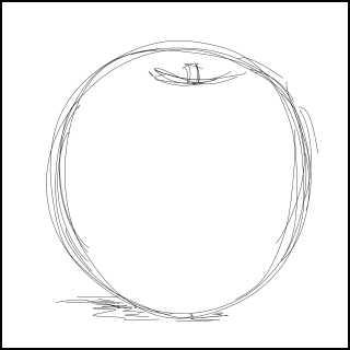 リアルな絵の描き方-リンゴを紙に描くときの大きさアタリ
