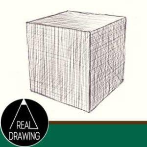 リアルな絵の描き方-立方体のスケッチの書き方サムネイル-セピア