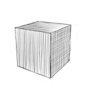 リアルな絵の描き方-立方体のスケッチの書き方-完成1
