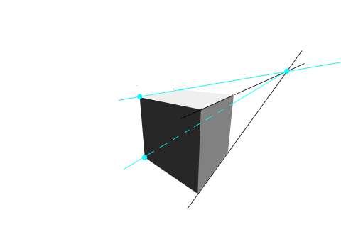 リアルな絵の描き方-立方体のスケッチの書き方2点透視1-2