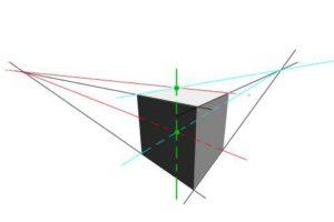 リアルな絵の描き方-立方体のスケッチの書き方2点透視3