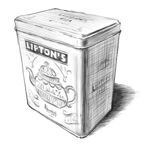 リアルな絵の描き方-紅茶の缶のスケッチの書き方_完成(濃)