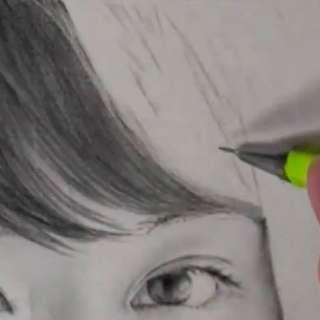 髪の毛の絵の書き方-リアルな鉛筆画の描き方2