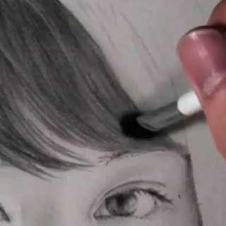髪の毛の絵の書き方-リアルな鉛筆画の描き方7