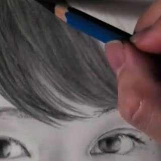 髪の毛の絵の書き方-リアルな鉛筆画の描き方8