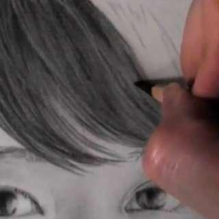 髪の毛の絵の書き方-リアルな鉛筆画の描き方9