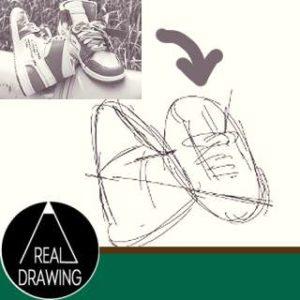 リアルな絵-絵やスケッチの線は3つのステップでサムネイル-セピア
