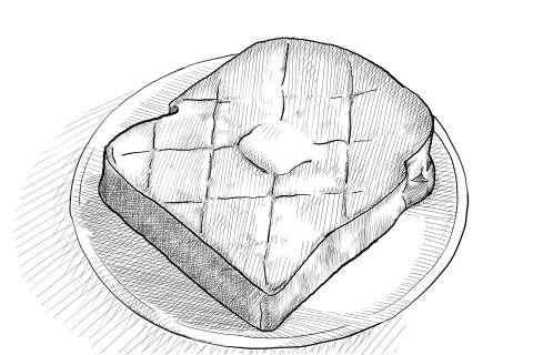 トーストの絵の描き方-初心者でも簡単なイラスト-完成