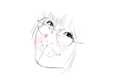 メガネの女性の絵の描き方-初心者でも簡単なイラスト11
