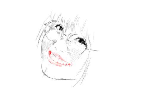 メガネの女性の絵の描き方-初心者でも簡単なイラスト12