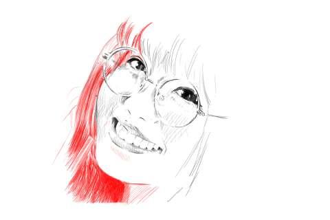 メガネの女性の絵の描き方-初心者でも簡単なイラスト13