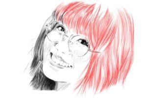メガネの女性の絵の描き方-初心者でも簡単なイラスト14