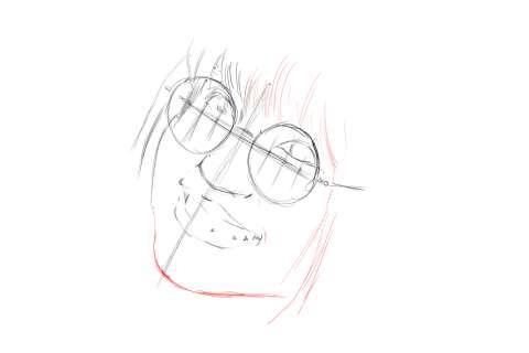 メガネの女性の絵の描き方-初心者でも簡単なイラスト7