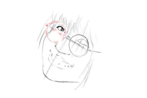 メガネの女性の絵の描き方-初心者でも簡単なイラスト9