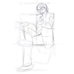 座っている男性の描き方13