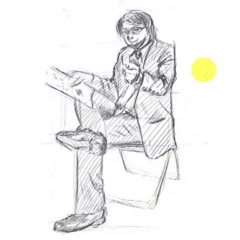 座っている男性の描き方14