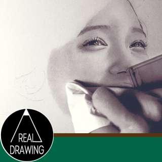 鉛筆画のリアルな絵の描き方-肌の書き方サムネイル-セピア